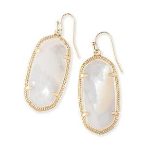 Kendra Scott Gold Drop Earrings in White Pearl